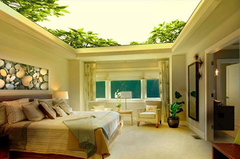 Натяжные потолки в спальне - фото