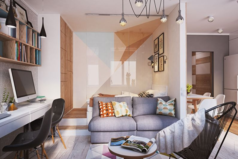 Дизайн комнаты с нишей в однокомнатной квартире в Москве