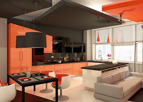 Проект кухни-гостиной «Оранжевое настроение»