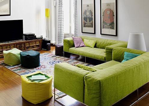 Зеленый цвет в интерьере (90 фото)