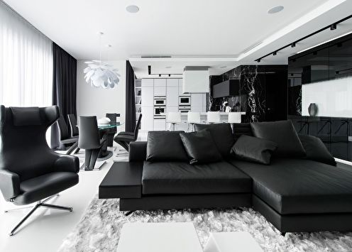 Черно-белый цвет в интерьере (90 фото)