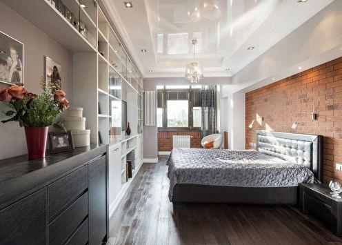 Натяжной потолок в спальне (65 фото)