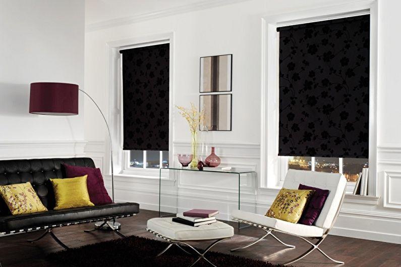 Oturma odası için stor perdeler - fotoğraf