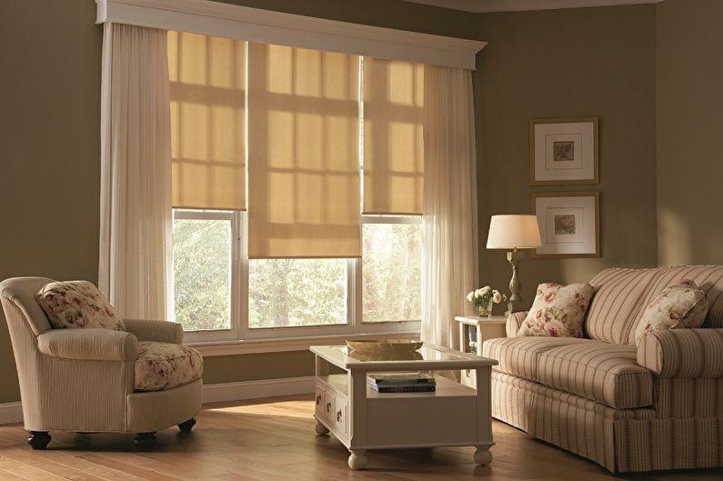 Рулонные шторы для гостиной - фото
