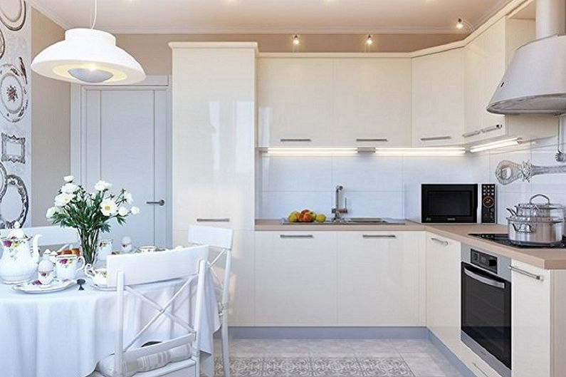 Белая кухня 15 кв.м. - Дизайн интерьера