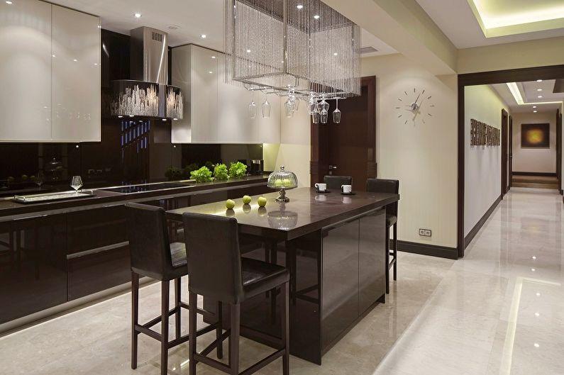 Коричневая кухня 15 кв.м. - Дизайн интерьера