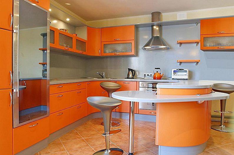 Оранжевая кухня 15 кв.м. - Дизайн интерьера