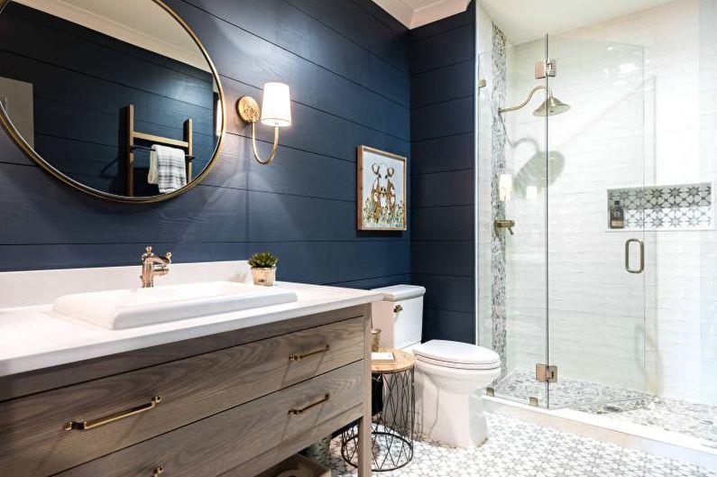 Ванная комната с душевой кабиной в стиле кантри