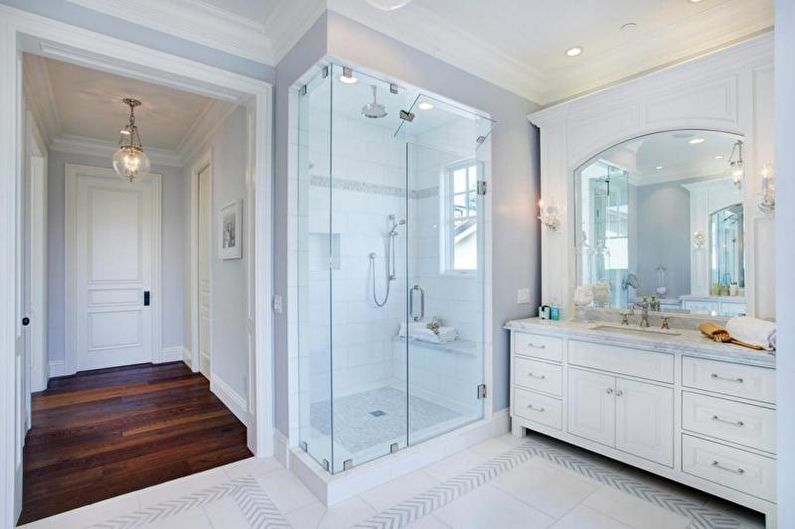 Отделка ванной комнаты с душевой кабиной - Керамическая плитка