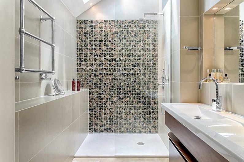 Отделка ванной комнаты с душевой кабиной - Плитка мозаичная