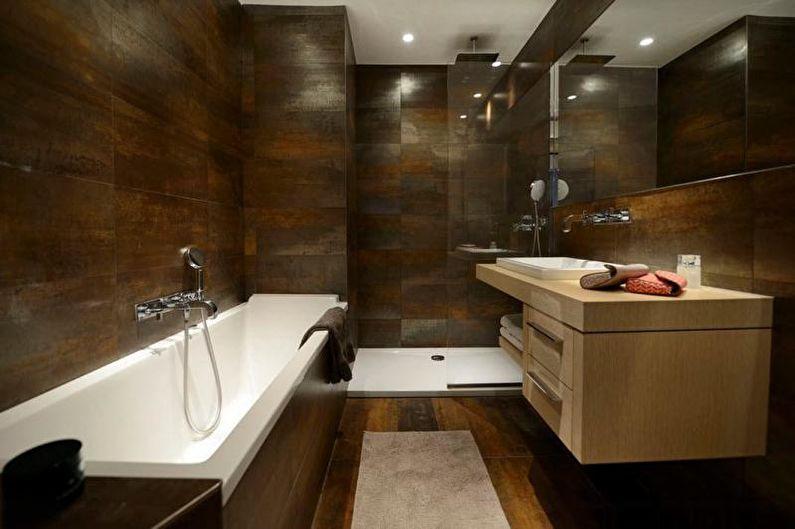 Отделка ванной комнаты с душевой кабиной - Керамогранит