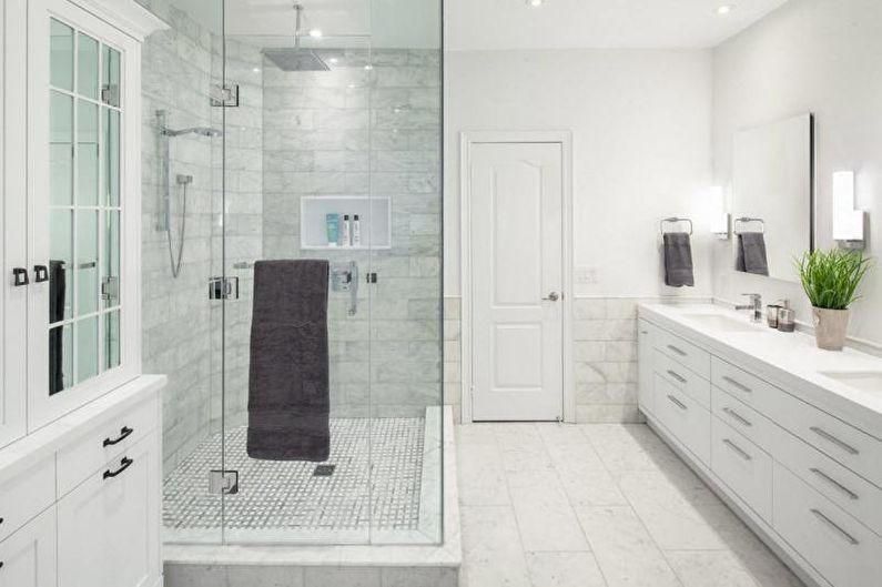 Отделка ванной комнаты с душевой кабиной - Мрамор