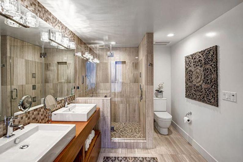 Отделка ванной комнаты с душевой кабиной - Комбинирование материалов