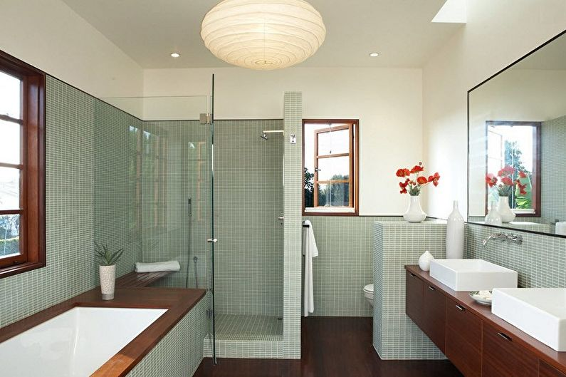 Ванная комната с душевой кабиной - дизайн интерьера фото