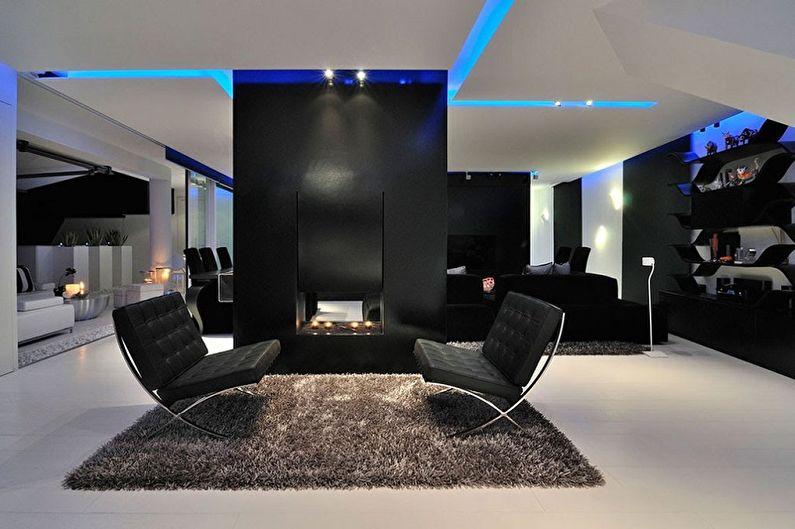 Черно-белая гостиная в стиле хай-тек - Дизайн интерьера