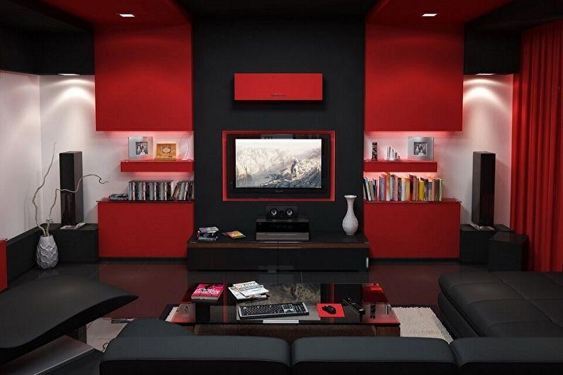 Красная гостиная в стиле хай-тек - Дизайн интерьера
