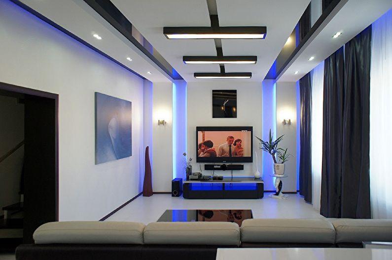 Синяя гостиная в стиле хай-тек - Дизайн интерьера
