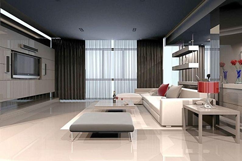 Дизайн гостиной в стиле хай-тек - Отделка пола