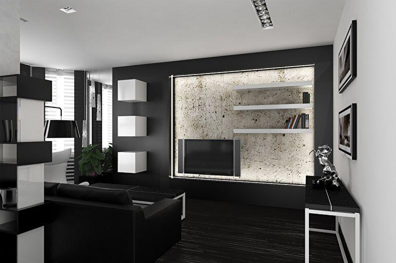 Дизайн гостиной в стиле хай-тек - Отделка стен