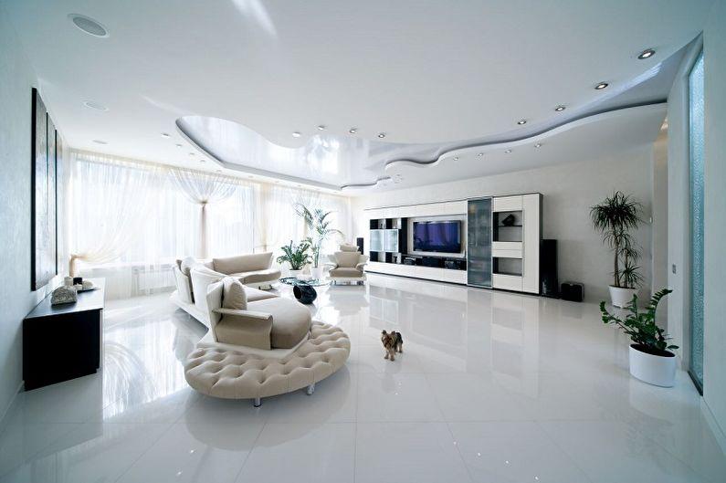 Дизайн гостиной в стиле хай-тек - Отделка потолка