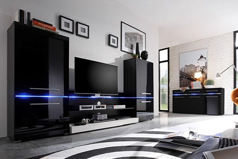Дизайн гостиной в стиле хай-тек - Мебель