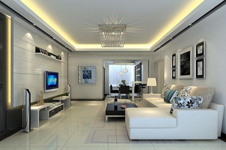 Дизайн гостиной в стиле хай-тек - Освещение и декор