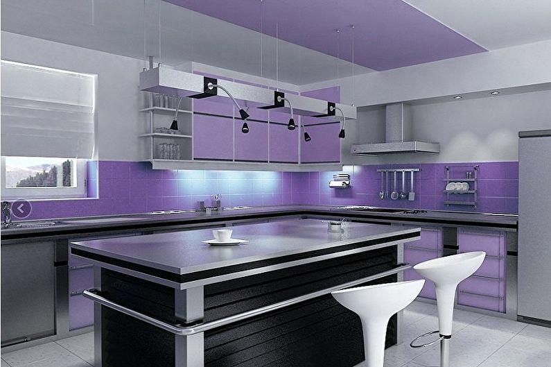 Фиолетовая кухня в стиле хай-тек - Дизайн интерьера