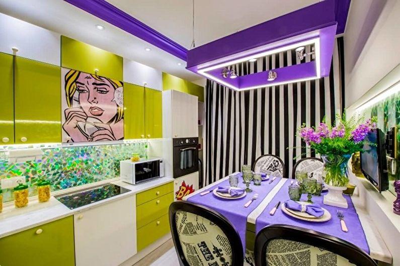 Фиолетовая кухня в стиле поп-арт - Дизайн интерьера
