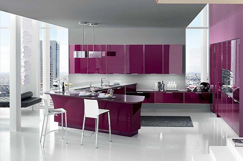 Фиолетовая кухня в стиле модерн - Дизайн интерьера