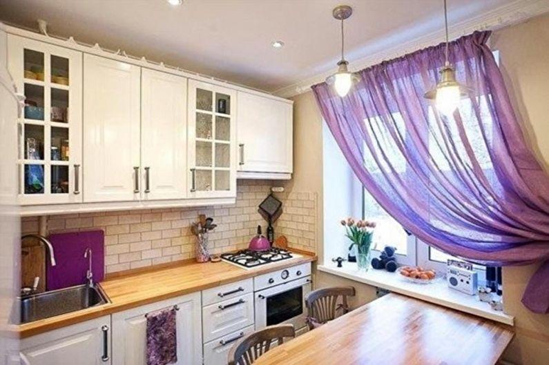 Фиолетовая кухня в скандинавском стиле - Дизайн интерьера