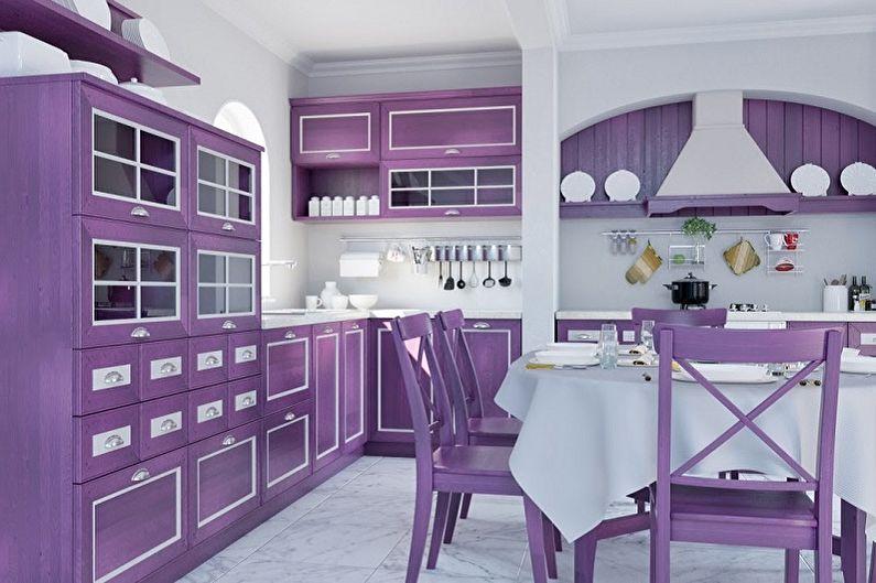 Фиолетовая кухня в стиле прованс - Дизайн интерьера