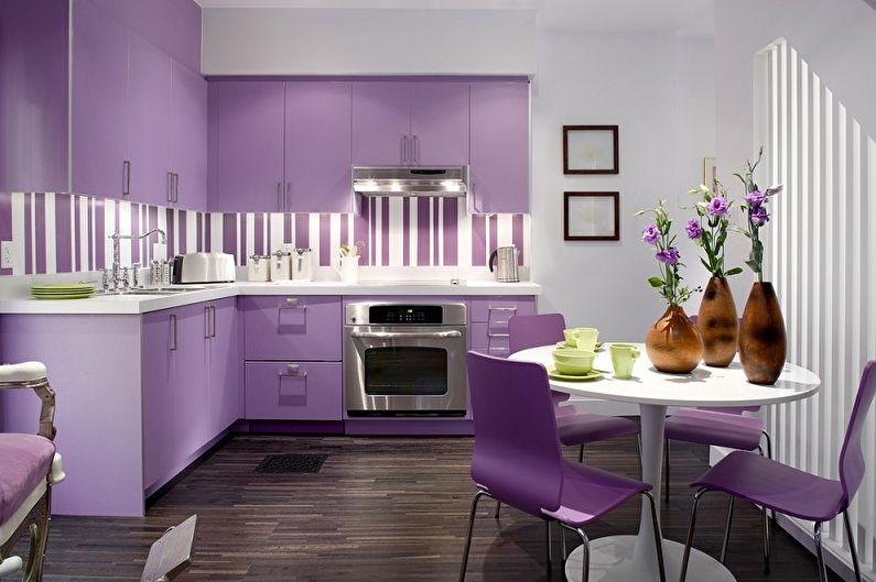 Дизайн фиолетовой кухни - Отделка пола