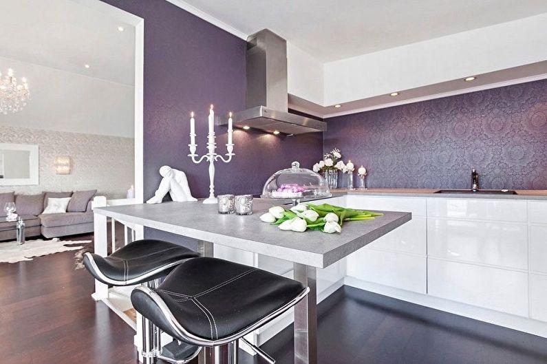 Дизайн фиолетовой кухни - Отделка стен