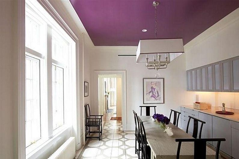 Дизайн фиолетовой кухни - Отделка потолка