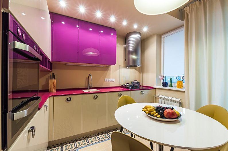 Дизайн фиолетовой кухни - Декор и освещение