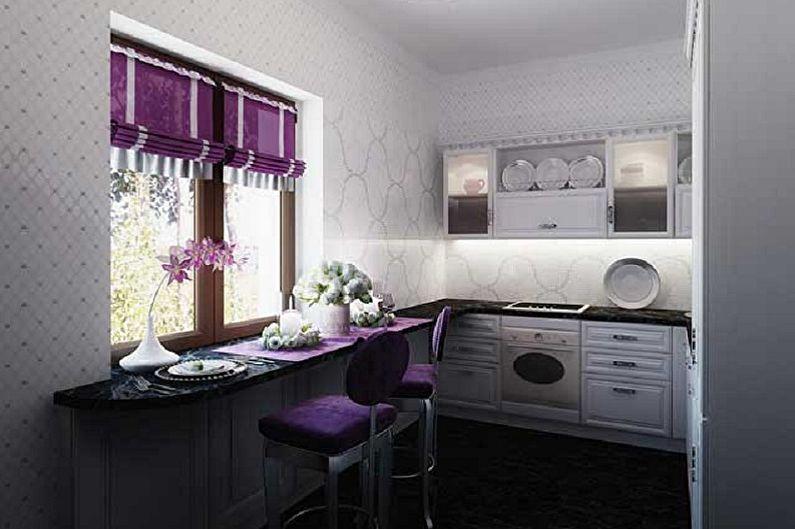 Маленькая фиолетовая кухня - Дизайн интерьера