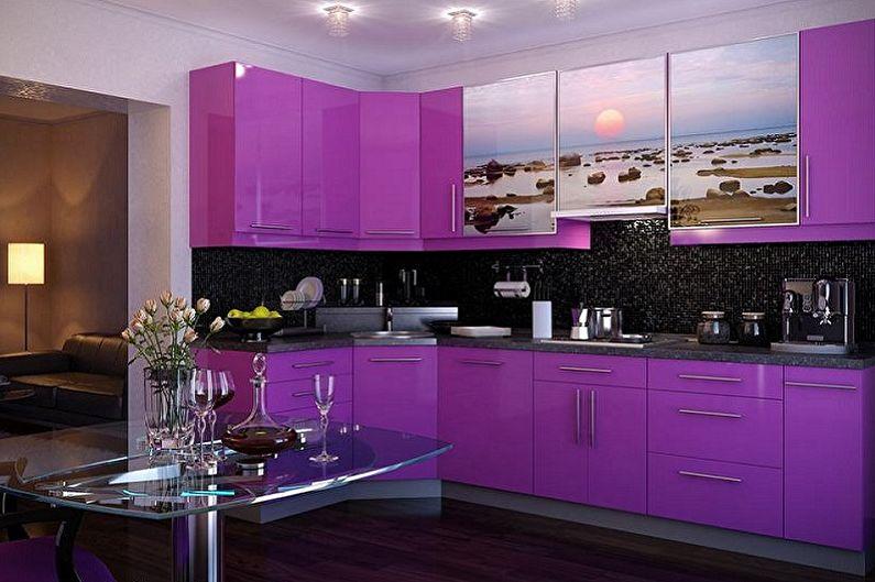 Фиолетовая кухня - дизайн интерьера фото