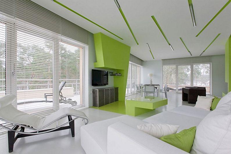 Зеленый с белым - Сочетание цветов в интерьере