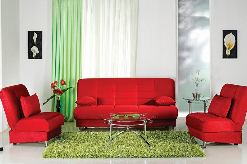 Зеленый с красным - Сочетание цветов в интерьере