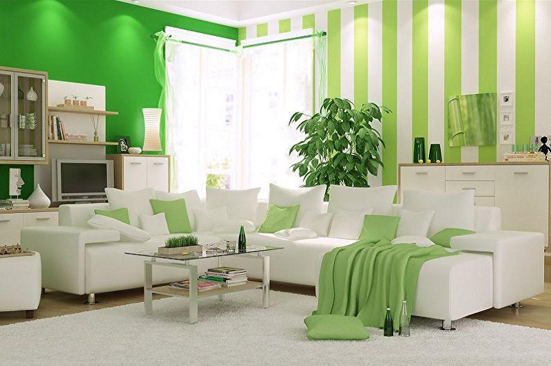 Зеленый цвет в интерьере гостиной - Сочетание цветов