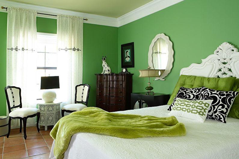 Зеленый цвет в интерьере спальни - Сочетание цветов