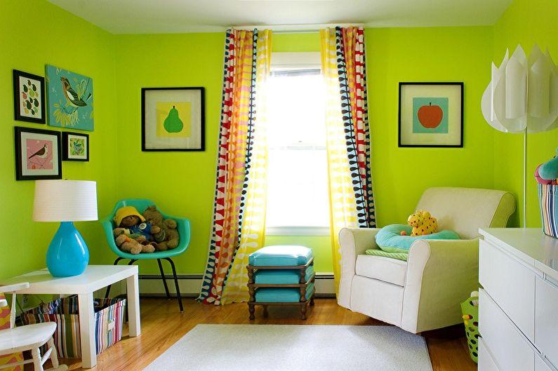 Зеленый цвет в интерьере детской комнаты - Сочетание цветов