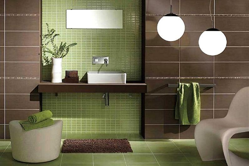 Зеленый цвет в интерьере ванной комнаты - Сочетание цветов