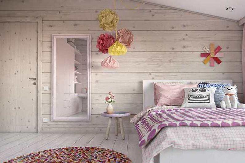 Розовая детская в стиле минимализм - Дизайн интерьера