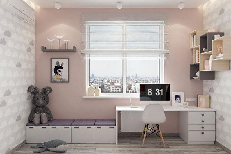 Розовая детская в скандинавском стиле - Дизайн интерьера