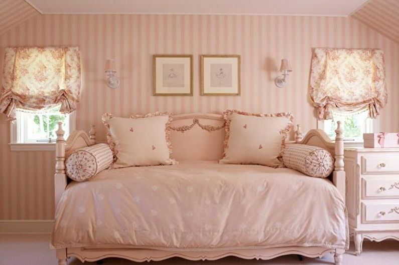 Дизайн детской комнаты в розовых тонах - Отделка стен