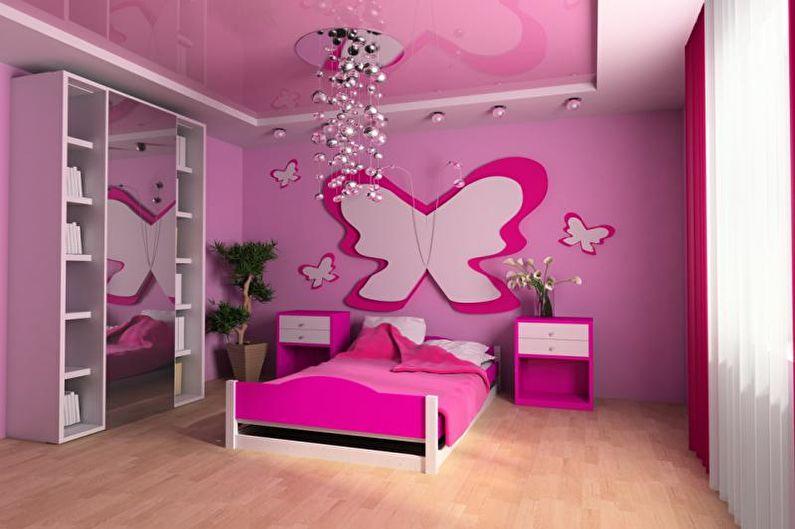 Дизайн детской комнаты в розовых тонах - Отделка потолка