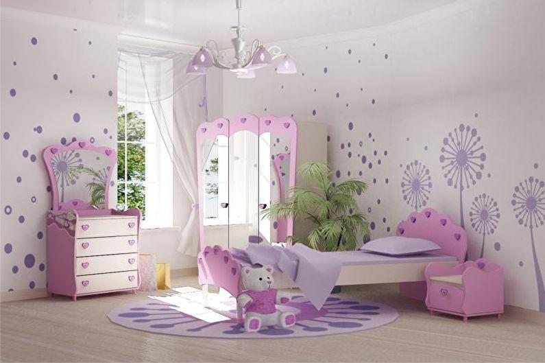Розовая детская комната - дизайн интерьера фото