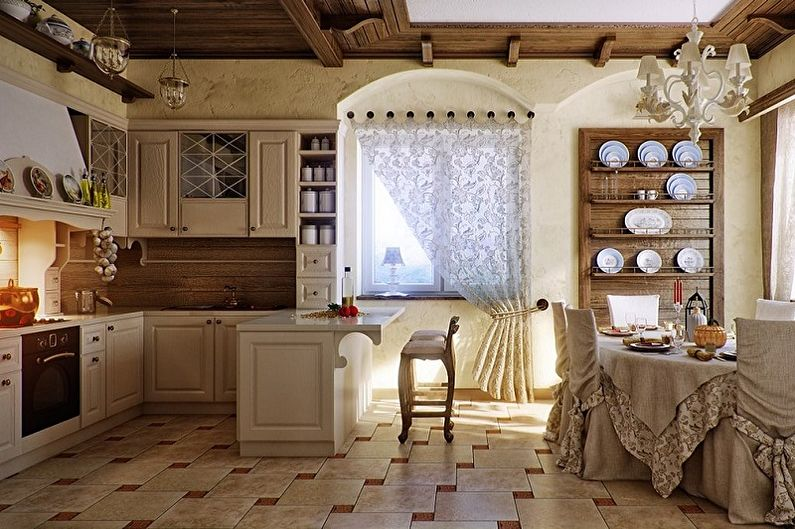 Бежевая кухня в стиле кантри - Дизайн интерьера
