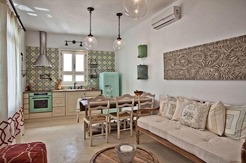 Бежевая кухня в средиземноморском стиле - Дизайн интерьера